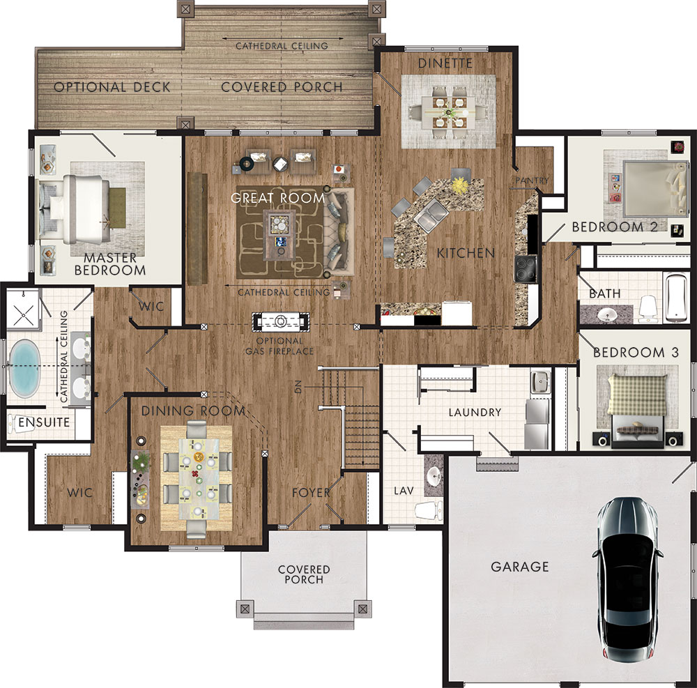 Chinook floor plan ontario home builders for Cottage floor plans ontario